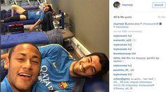 Los tres tenores dieron los 'buenos días' al barcelonismo con un 'selfie'