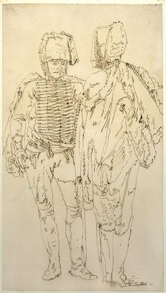 Bellotto, Bernardo, dit Canaletto (1721-1780) Drawing of two soldiers, Warszawa, Muzeum Narodowe