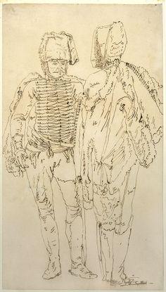 Bellotto, Bernardo, dit Canaletto (1721-1780) Drawing of two soldiers, Warszawa, Muzeum Narodowe