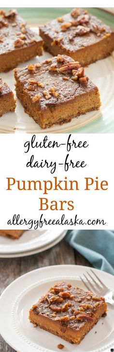 Gluten Free Dairy Free Pumpkin Pie Bars Pumpkin pie meets a cookie crust and a layer candied pecans on top. These super simple bars are a cinch to make and taste absolutely divine! Gluten Free Pumpkin Bars, Gluten Free Bars, Gluten Free Deserts, Pumpkin Pie Bars, Gluten Free Sweets, Gluten Free Cookies, Gluten Free Baking, Dairy Free Recipes, Pumpkin Recipes