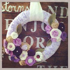 Love the lace wrap!!!!!! Bird wreath, purple wreath, lace wreath, spring wreath, summer wreath on Etsy, $35.00