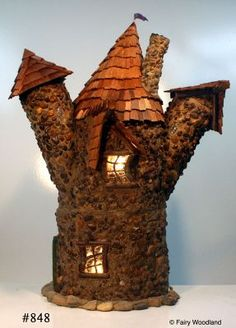 Fairy houses, hobbit houses, fairy calendars and fairy doors for your garden or home decor by Fairy Woodland Some Enchanted Evening, Enchanted Fairies, Porch Lamp, Hobbit Houses, Fairy Homes, Gnome House, House With Porch, Tree Houses, Succulents