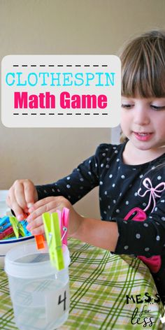 What I love about this clothespin math activity from Mess for Less is that it requires very little set up time and give kids an opportunity to practice math as well as strengthen fine motor skills. #kidsmath #preschoolmath #kidslearning #finemotorskills