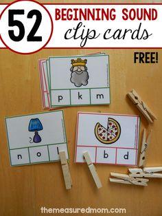 Letter sound clip cards