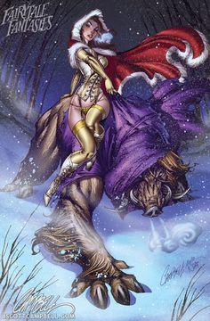 Artist: Jeffrey Scott Campbell  http://cdn.bitrebels.netdna-cdn.com/wp-content/uploads/2012/01/Fairy-Tale-Pin-Up-2012-Calendar-8.jpg