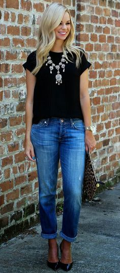 Jeans, statement necklace