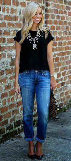Jeans, statement necklace