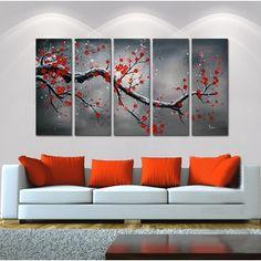 'Winter Plum' 5-piece Oil Hand Painted Canvas Art Set http://ak1.ostkcdn.com/images/products/5289329/P13101983.jpg