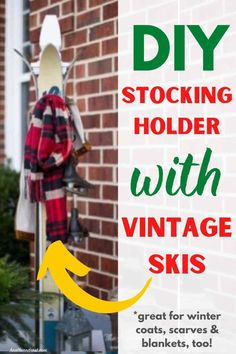 DIY Stocking Holder from vintage skis! Perfect when there's no chimney for Santa on Christmas Eve! Diy Stocking Holder, Diy Stockings, Hannukah, Christmas Crafts, Christmas Ideas, Christmas Printables, Christmas Inspiration, Winter Holidays, Skiing