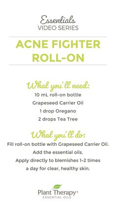 This easy Acne Fighter Roll-on DIY combines Oregano, a very powerful essential oil, and Tea Tree to help banish zits and keep your skin clear and healthy. Oregano Essential Oil, Essential Oils For Skin, Essential Oil Blends, Aloe Vera, Lotion For Oily Skin, Back Acne Treatment, Acne Oil, Roll On Bottles, Plant Therapy