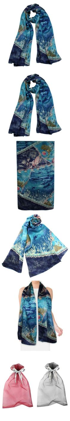 Dahlia Women's 100% Luxury Long Silk Scarf - World Under the Sea - Blue Material: 100% luxurious 12-momme Charmeuse Silk. Charmeuse is a more expensive variety within silk, ranging from 5-momme to 12-momme in thickness. The thicker, the more expensive.. Dahlia use high quality dyes to create vibrant and durable prints.. Touch & Feel: Silky soft & drapes gracefully. Has a lustrous silky surface on ... #Dahlia #Apparel