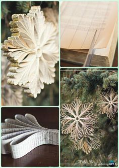 DIY Old Book Paper Glitter Snowflake Ornament Instruction- DIY Paper Christmas Tree Ornament Craft Ideas paper ornaments DIY Paper Christmas Tree Ornament Craft Ideas Instructions Diy Christmas Fireplace, Diy Christmas Snowflakes, Diy Paper Christmas Tree, Christmas Origami, Christmas Tree Ornaments, Paper Snowflakes, Christmas Crafts, Rustic Christmas, Christmas Holidays
