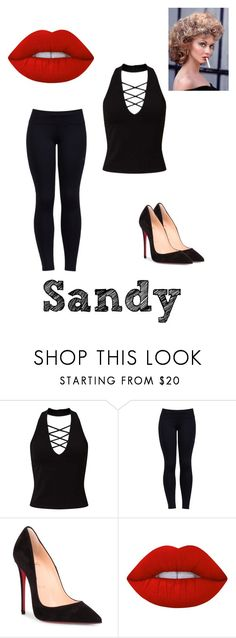 """""""Sandy(Grease)"""" by the-crazy-musical-fan ❤ liked on Polyvore featuring Miss Selfridge, Varley, Christian Louboutin and Lime Crime"""