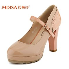 Waterproof singles shoes 2013 fall new spell color thick with high-heeled patent leather pumps women's shoes Korean tidal-tmall.com day cat
