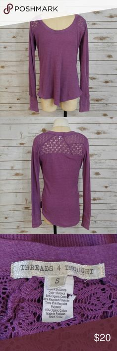 Threads 4 Thought Purple Lace Thermal Long Sleeve Threads 4 Thought Purple Lace Thermal Long Sleeve Tee  Size small in excellent used condition. Please feel free to ask any questions or bundle with other listings in my closet for a custom discount on your order. I ship the same day as long as the order is placed before 11:00 AM Central time. If you would like to be notified about price drops remember to 'like' the item to bookmark it! Thank you for checking out my closet and happy poshing…