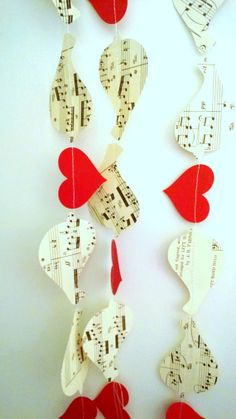 Vintage Sheet Music /Valentines Day/ Paper Songbirds Garland/ 8ft/ Photo Prop/Decoration on Etsy, $9.00