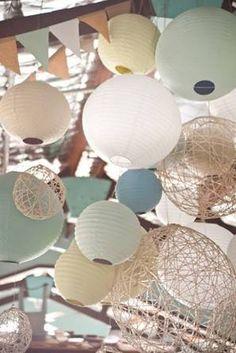 Muted paper lanterns @myweddingdotcom