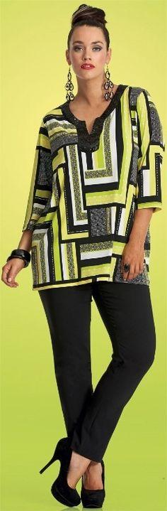 tecido já comprado - orlar com preto BANANNARAMA TUNIC - Tops - My Size, Plus Sized Women's Fashion & Clothing