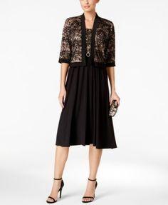 R & M Richards Petite Lace A-Line Dress and Jacket