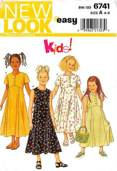 Girl's Size 4 5 6 7 8 9 New Look 6741 Easy Kids; Girls Front Button Empire Waist Shirt Dress; Summer Spring Childrens' Sewing Pattern by AffordablePatterns