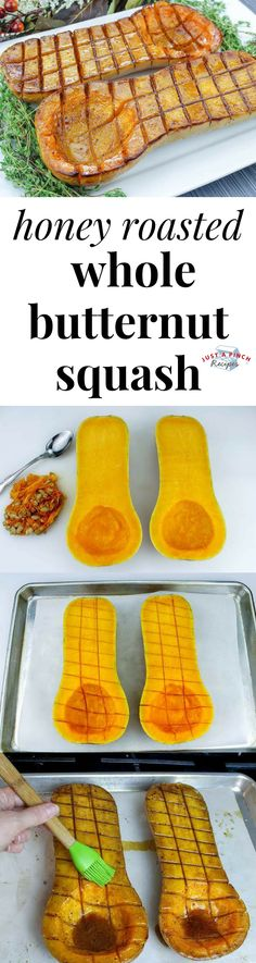Honey Roasted Whole Butternut Squash Honey Roasted Whole Butternut Squash Recipe is an easy fall recipe that is popping with fall spices, honey and butter! Side Dish Recipes, Fall Recipes, Vegetable Recipes, Vegetarian Recipes, Cooking Recipes, Healthy Recipes, Roast Whole Butternut Squash, Roasted Squash, Roasted Butternut