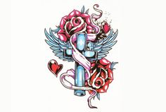 Temporary Tattoo Sleeve, Vintage Tattoo, Traditional, Cross, Roses, Flower, Floral, Large, Wings, Angel Wings, Heaven, Religious