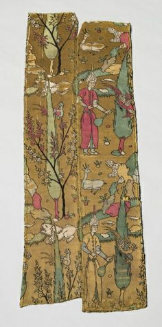 Wine Bearer in Landscape with Animals, from a Kaftan, 1525-1550  Iran, Safavid period  silk; lampas weave, Overall - h:83.50 w:37.50 cm (h:32 13/16 w:14 3/4 inches).