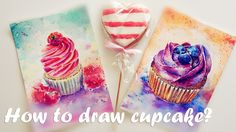How to draw cupcake? Speed painting.Watercolor  tutorial. Как нарисовать...