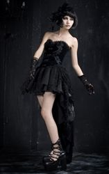 Find Punk Rave Gothic Velveteen Corset Top Dress with matching Tutu. This gothic black velvet corset dress top has an upper corset section with light boning, decorative metal front clasps and decorative embroidered sections with attached black roses. Dark Beauty, Gothic Beauty, Gothic Corset Dresses, Gothic Outfits, Gothic Mode, Gothic Lolita, Dark Fashion, Gothic Fashion, Style Fashion