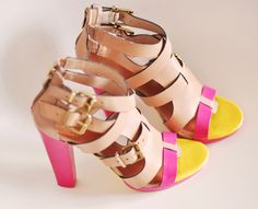 DIY color blocked sandals with nail polish!