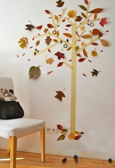 mommo design: 6 FALL LEAVES DIY PROJECTS - Tape and leaves tree