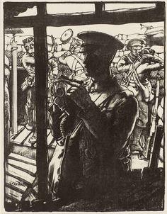 Making Soldiers: Gas Masks by Eric Kennington (1917)
