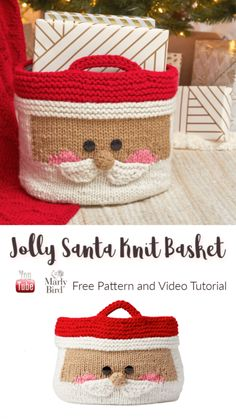 Knit this cute, fun, and functional Jolly Santa Knit Basket for the holiday season with this free knit pattern tutorial on Marly Bird. Christmas Knitting Patterns, Knitting Patterns Free, Knit Patterns, Free Knitting, Knitting Ideas, Holiday Gift Baskets, Diy Holiday Gifts, Holiday Crafts, Knitted Christmas Stockings