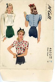 McCall 4652 Misses 1940s Blouse Pattern Sunburst Neckline Back Button Day or Evening Blouse Womens Vintage Sewing Pattern Bust 34