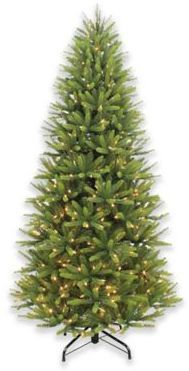 Puleo International 7.5-Foot Slim Spruce Pre-Lit Artificial Christmas Tree with White LED Lights