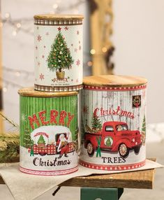 Christmas Kitchen Canisters - Set of 3 vintage style kitchen canister with Christmas scenes and wooden lid