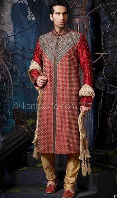 Maroon Jacquard Fabric Embroidered Sherwani With Sequins, Beads, Zari, Zardosi And Stones Work. Contrast Fawn Churidar. #Men'sSherwani