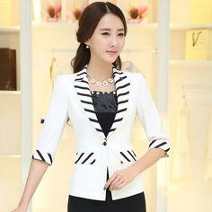 de715dae11564 Tienda Online 2016 mujeres media manga un botón del remiendo delgado de  rayas abrigo fino del verano chaqueta moda para mujer de la oficina  chaquetas tops
