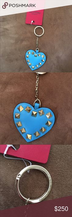 NWT! Authentic Valentino Rockstud keychain Brand new with tag!  Bright blue leather heart with gold studs.  Stunning!!!  Made in Italy! Valentino Accessories Key & Card Holders