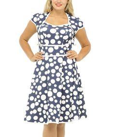 Loving this Blue & White Polka Dot Midi Dress - Plus on #zulily! #zulilyfinds