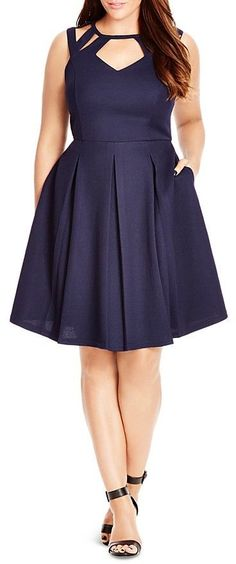 Plus Size Cutout Fit and Flare Dress