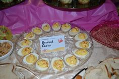 "Little mermaid party food- ""Mermaid Cavier"" traditional deviled eggs."