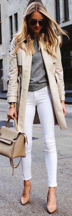 #winter #outfits grey button coat with white denim jeans outfit