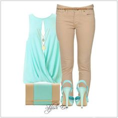 CHATA'S DAILY TIP: Neutral stone combines beautifully with turquoise! A sexy draped top will cleverly disguise a rounded or full tummy. Co-ordinate with stone skinny jeans if you have good hips, or with stone bootleg jeans if you have fuller hips. Swop the high heels for flat sandals in turquoise, tan or chocolate brown. COPY CREDIT: Chata Romano Image Consultant, Marlise du Plessis http://chataromano.com/consultant/marlise-duplessis/ IMAGE CREDIT: Stylish Guru's Facebook page