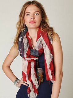 Tattered American Flag Scarf, navy maxi dress, tan boots/flats, (option: hat)