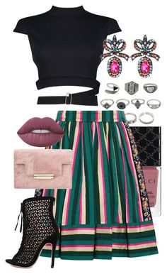 """""""Striped Skirt"""" by jelisaj ❤ liked on Polyvore featuring Gucci, Etro, Boohoo, Lime Crime, outfit and stripes"""