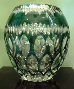 Vintage Large Val St Lambert Crystal Emerald Green Clear Oval Cut Vase Belgium