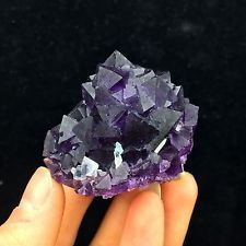 79g Natural Fluorite Flower Rough &White Calcite Mixed Mineral Rock Crystal. Looks a lot like amethyst.