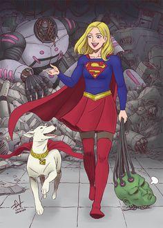 davidnamisato: Supergirl and Krypto with Brainiac.