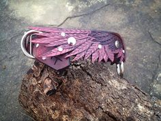 Wing Hand Tooled Leather Dog Collar Pink/Mahogany by FinelyTooled